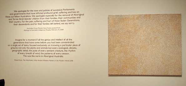 Text from Kevin Rudd's Apology to the Stolen Generations, with Joseph Jurra Tjapaltjarri's Untitled (Pukaratjina), 2006.
