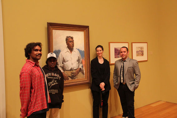 from left Vincent Namatjira, Kumanara Barney, Karen Zadra and Curator, Bruce McLean